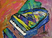 Piano Paintings - Piano Blue by Anita Burgermeister