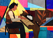 Lino Mixed Media - Piano Man 2012 by Everett Spruill