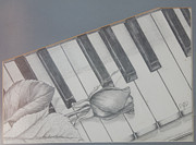 Ebony Paintings - Piano Man by Pamela  Gosnell