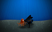 Piano Digital Art Prints - Piano Playing Octopus Print by Sanely Great