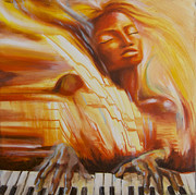 Girl Playing Piano Paintings - Piano Song by Anna Huff