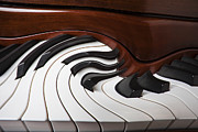 Color Bending Framed Prints - Piano Surrlistic Framed Print by Garry Gay