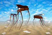 Surrealism Posters - Piano Valley Poster by Mike McGlothlen