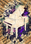 Pianist Framed Prints - Piano watercolor Framed Print by Delphimages Photo Creations