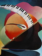Jazz  Abstract Paintings - Pianoforte by Fred Chuang