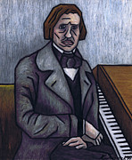 Musicians Pastels Posters - Pianos Finest Poet Fryderyk Chopin Poster by Kamil Swiatek