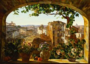 Vine Grapes Painting Posters - Piazza Barberini in Rome Poster by Karl von Bergen