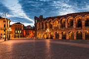 Piazza Bra Prints - Piazza Bra and Arena Verona amphitheatre in Italy Print by Emi Cristea