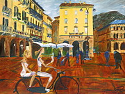 Gregory A Page Posters - Piazza da Como Poster by Impressionism Modern and Contemporary Art  By Gregory A Page