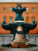 Monument Sculpture Posters - Piazza del Annunziata Fountain Poster by Kathleen English-Barrett