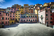 Northern Italy Framed Prints - Piazza in Riomaggiore Framed Print by George Oze