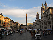 Bernini Photos - Piazza Navona at Sunset by Kiril Stanchev