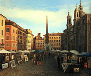 Rome Cityscape Paintings - Piazza Navona in Rome by Kiril Stanchev