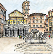 Stucco Mixed Media Posters - Piazza Santa Maria in Trastevere Rome Poster by Janine Borchgrevink
