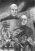 Jean Luc Picard Framed Prints - Picard Black and White Framed Print by Jonathan Brown