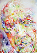 Pablo Picasso Metal Prints - Picasso Pablo Watercolor Portrait.2 Metal Print by Fabrizio Cassetta