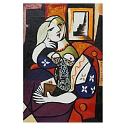Reprint Posters - Picasso Women With Book reprint Poster by J Nance