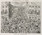 Throng Posters - Piccadilly during the Great Exhibition Poster by George Cruikshank