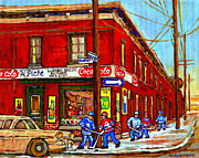 Hockey Winter Classic Framed Prints - Piches Grocery Store Bridge Street And Forfar Goosevillage Montreal Memories By Carole Spandau Framed Print by Carole Spandau