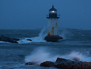 New England Lighthouse Digital Art Prints - Pickering Lighthouse hit by storm surge Print by Jeff Folger