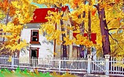 Red Roof Mixed Media Prints - Picket fence Print by Craig Nelson
