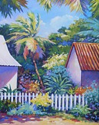 Puerto Rico Painting Framed Prints - Picket Fence Framed Print by John Clark