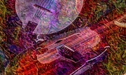 Acoustical Digital Art Prints - Pickin and a Grinnin Digital Banjo and Guitar Art by Steven Langston Print by Steven Lebron Langston