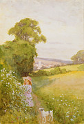 Green Field Paintings - Picking Flowers  by Thomas Frederick Mason Sheard
