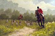 Equestrian Prints Posters - Picking up the scent Poster by John Silver