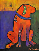 Pat Saunders-white Posters - Pickle Dog Poster by Pat Saunders-White