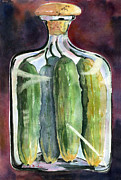 Glass Art Painting Posters - Pickle Jar Art Poster by Blenda Studio