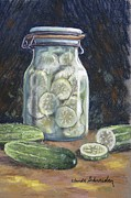 Vinegar Painting Framed Prints - Pickled Cucumbers Framed Print by Claude Schneider
