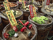 Vinegar Posters - Pickled Vegetables Street Vendor - Kyoto Japan Poster by Daniel Hagerman