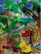 Wineglasses Paintings - Picnic Basket in Provence by Elaine Elliott