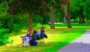 Sunday Picnic Paintings - Picnic In The Park Lakeshore Drive Romantic Summer Scene  Near Dorval Montreal Art Carole Spandau by Carole Spandau