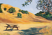 Berkeley Originals - Picnic Table and Yellow Hills at Briones Park by Asha Carolyn Young