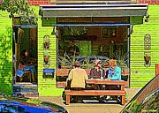 Bistro Paintings - Picnic Table At Green Cafe Rue Laurier Summer Bistro Street Scene Art Of Montreal Carole Spandau by Carole Spandau