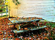 Julie Dant Photo Framed Prints - Picnic Table in Autumn Framed Print by Julie Dant
