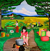 Rice Field Paintings - Picnic with the Farmers by Lorna Maza