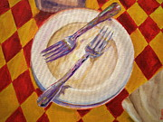 Italian Bakery Paintings - Picolinos 2 Forks by  L R Odette