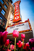 Illinois Flower Prints - Pictue of Chicago Theatre Sign with Tracy Morgan Print by Paul Velgos