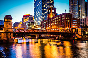 Dusk Framed Prints - Picture of Chicago at Night with Clark Street Bridge Framed Print by Paul Velgos