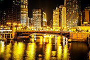 Architecture Metal Prints - Picture of Chicago at Night with State Street Bridge Metal Print by Paul Velgos
