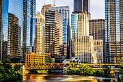 Office Buildings Prints - Picture of Chicago Buildings at Lake Street Bridge Print by Paul Velgos