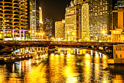 Downtown Posters - Picture of Chicago Dearborn Street Bridge at Night Poster by Paul Velgos