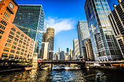 Reid Murdoch Building Prints - Picture of Chicago River Skyline at Clark Street Bridge Print by Paul Velgos