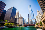 United Airlines Prints - Picture of Chicago Skyline at Michigan Avenue Bridge Print by Paul Velgos