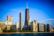Architecture Metal Prints - Picture of Chicago Skyline with Hancock Building Metal Print by Paul Velgos