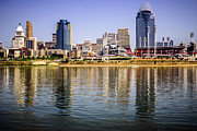 Pnc Prints - Picture of Cincinnati Skyline and Ohio River Print by Paul Velgos
