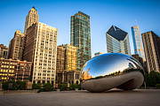 Millennium Park Prints - Picture of Cloud Gate Bean and Chicago Skyline Print by Paul Velgos